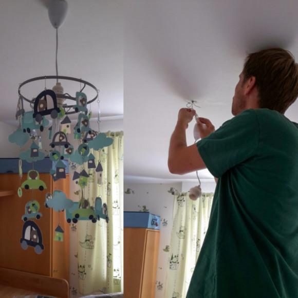 Neue Lampe im Babyzimmer
